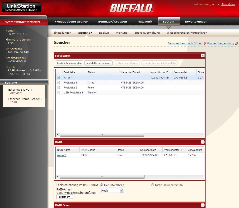 Buffalo Linkstation Festplatte defekt/Austausch und Wiederherstellung des raid