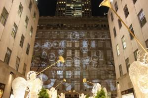 Weihnachtliche Animation am Rockefeller Center