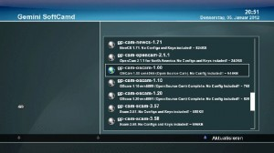 Auswahl CAM-Addon OSCAM Gemini Dreambox