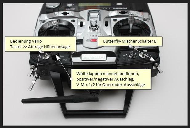Bedienung der Butterfly, Wölklappen, Vario Programmierung