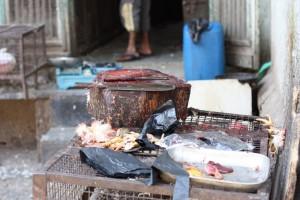 Indische Metzgerei, Crawford Market Mumbai, Abteilung Huhn, auf Sauberkeit wird geachtet
