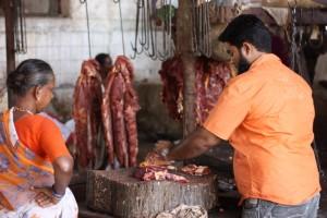 Indische Metzgerei, Crawford Market Mumbai, Verkaufsstand