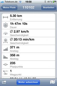 Aufgezeichneter Track Eigenschaften, Überblick in Trails